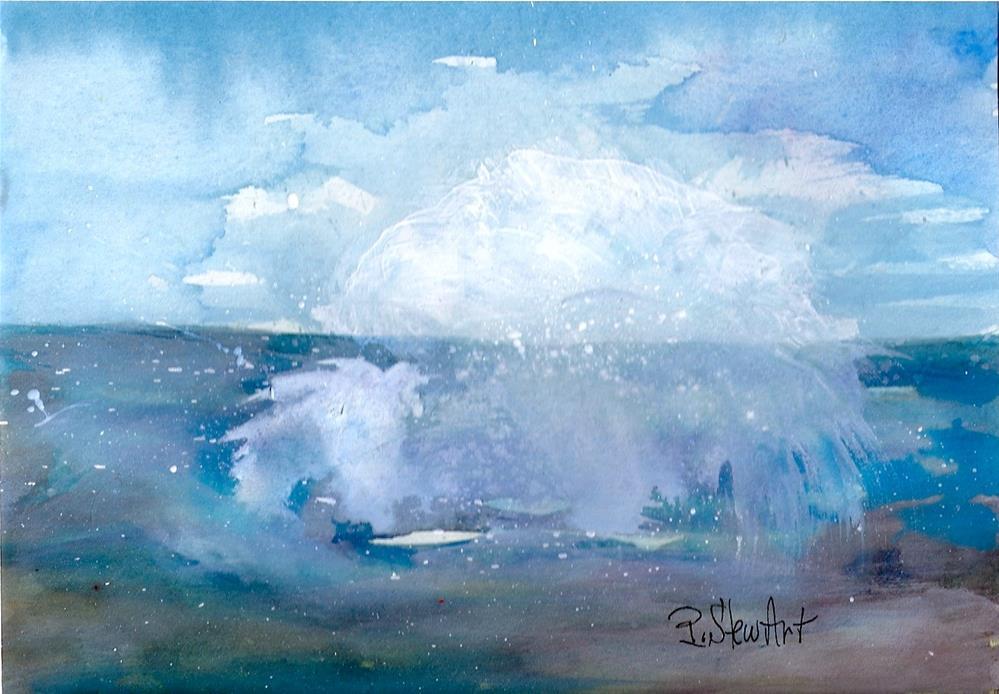 """5x7 Abstract Seascape Splash Watercolor Mixed Media Original Penny StewArt"" original fine art by Penny Lee StewArt"