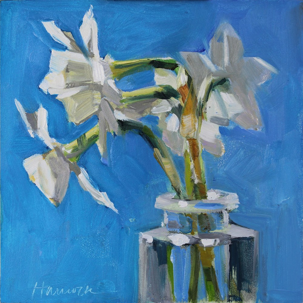 """Six White Jonquils on Blue"" original fine art by Gretchen Hancock"