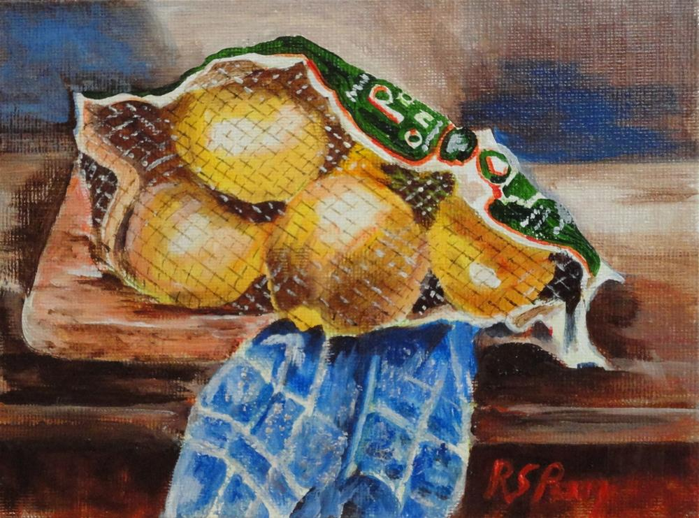 """""""Onions in a Mesh Bag"""" original fine art by R. S. Perry"""