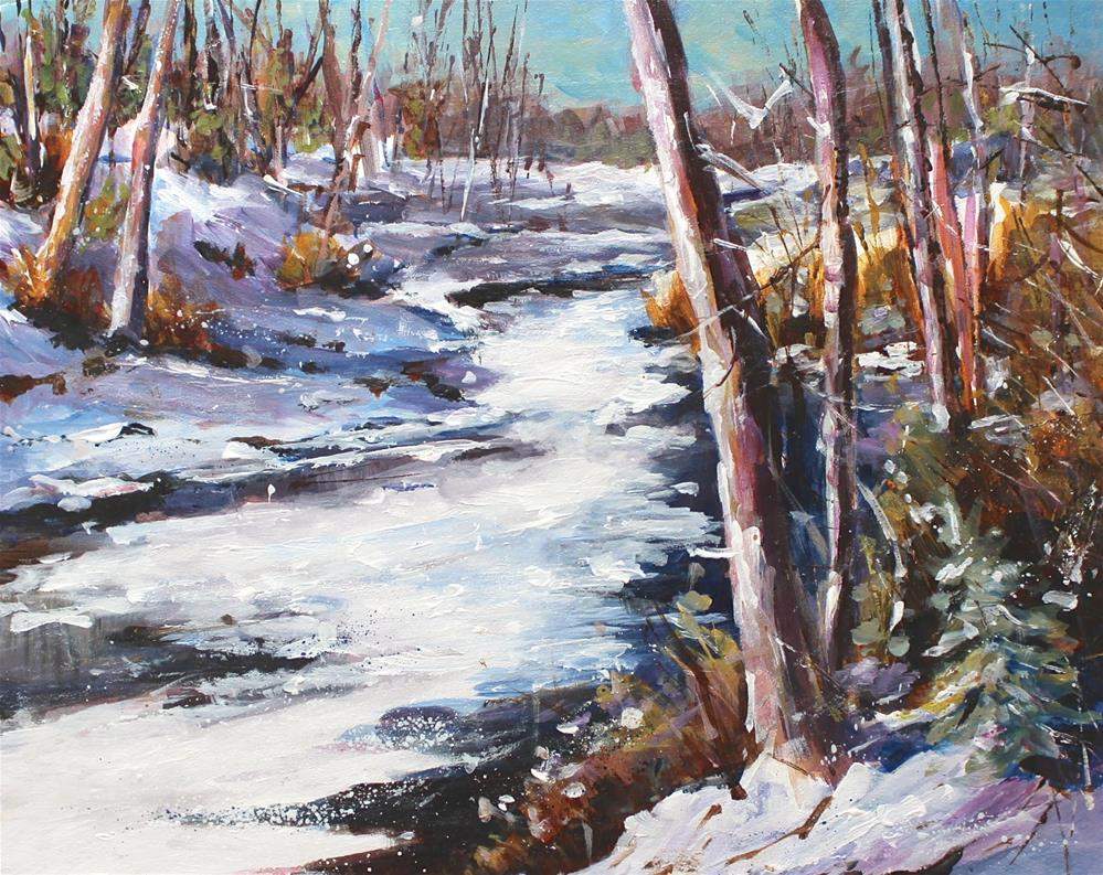 """Winter Snow Landscape Creek Indiana Original Painting"" original fine art by Alice Harpel"