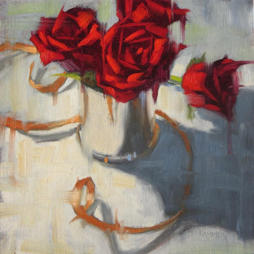 """""""Roses and Ribbon 3  8 x 8  oil"""" original fine art by Claudia Hammer"""