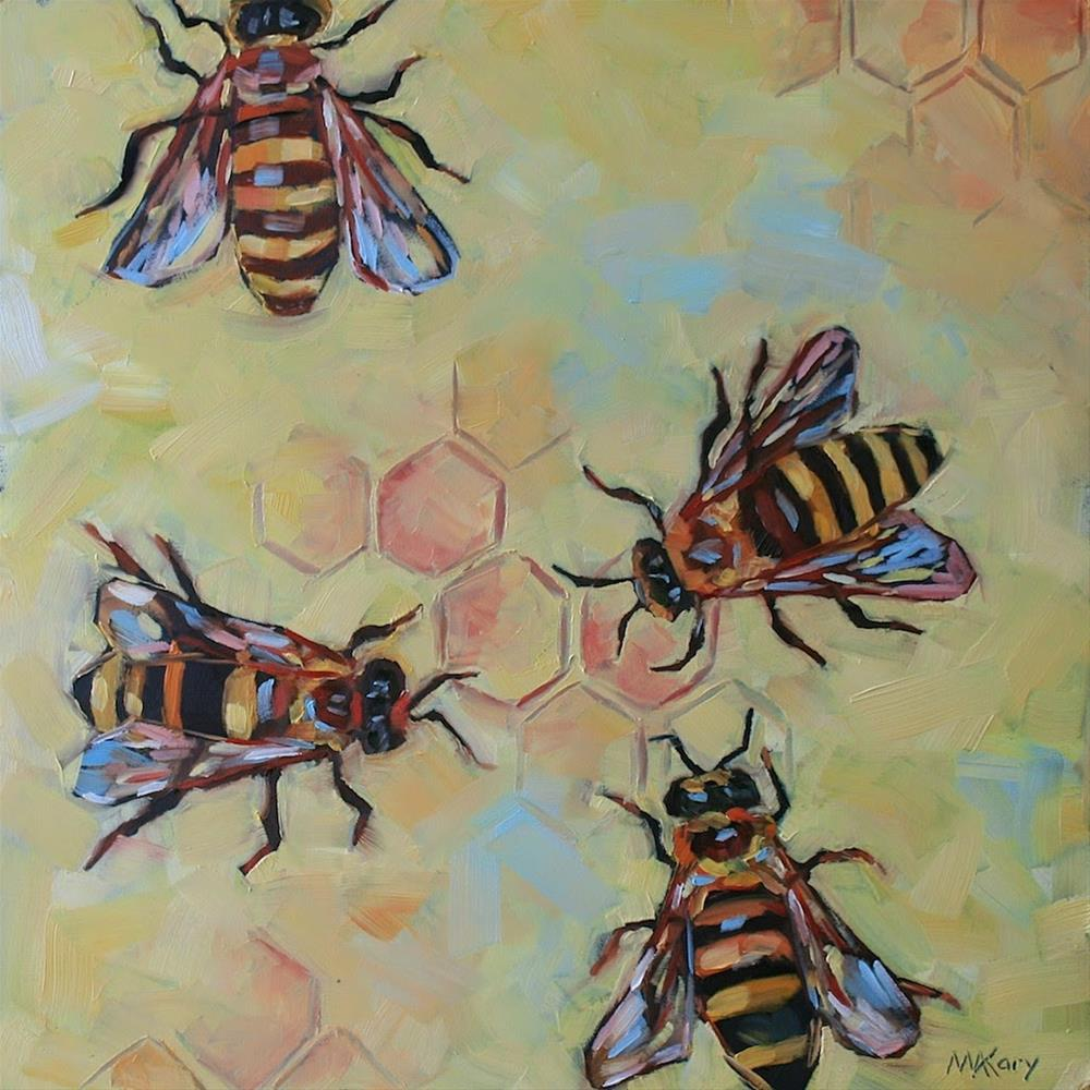 """""""Busy Bees"""" original fine art by Mary Anne Cary"""