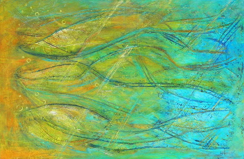 """Fish Abstract"" original fine art by Gloria Urban"