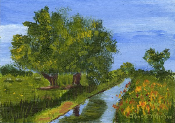 """Country Stream ACEO"" original fine art by Janet Graham"