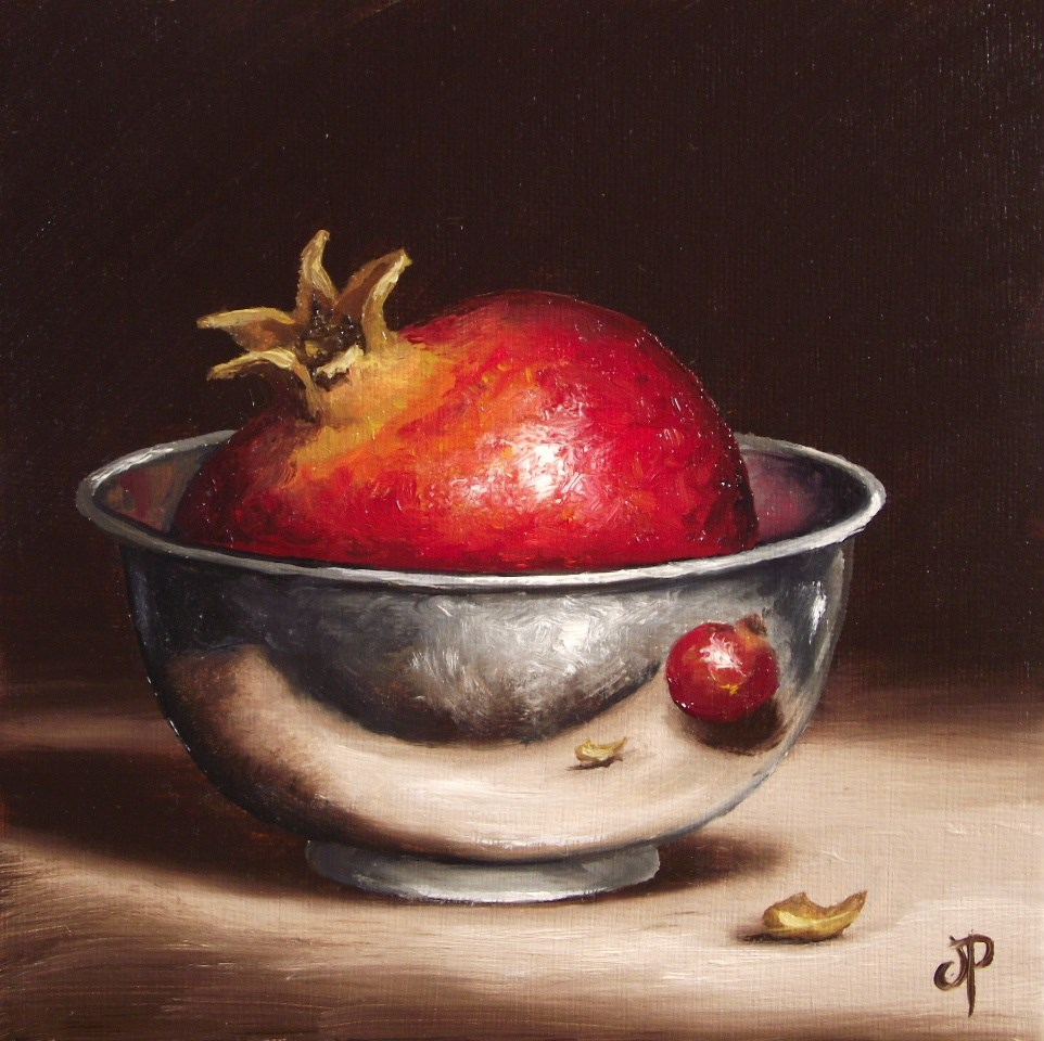"""Pomegranate in Silver"" original fine art by Jane Palmer"