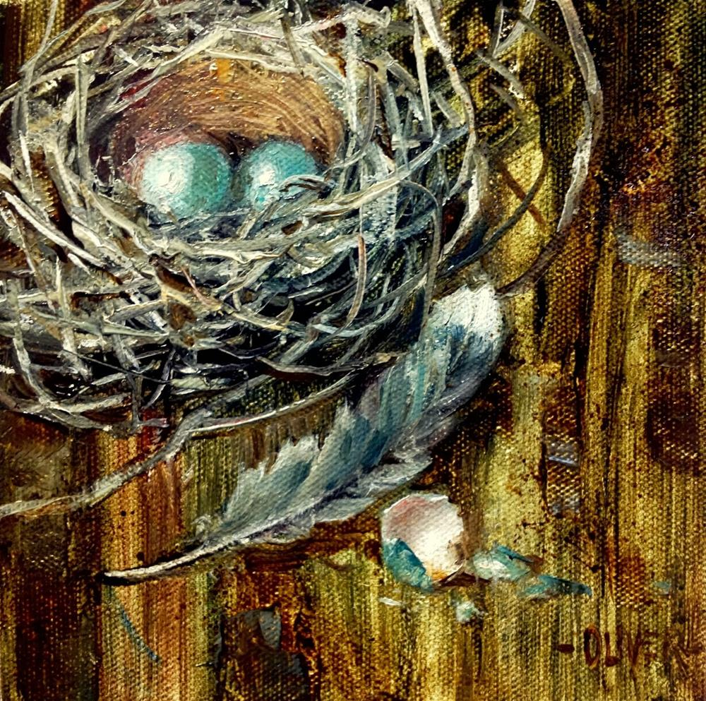 """""""Nest, Feather and Eggs"""" original fine art by Julie Ford Oliver"""