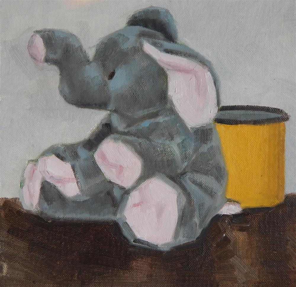 """""""Elephant and Yellow Cup"""" original fine art by Megan Schembre"""