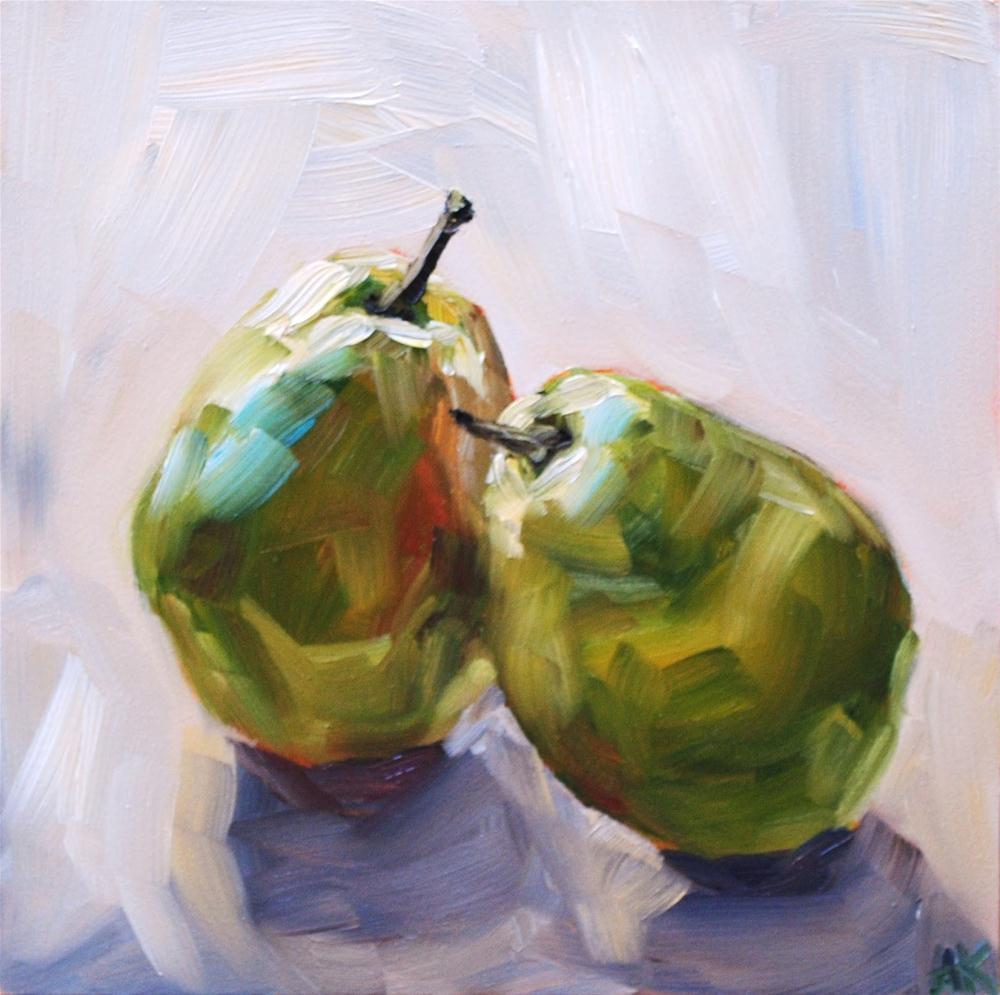 """Back Lit Pears"" original fine art by Alison Kolkebeck"