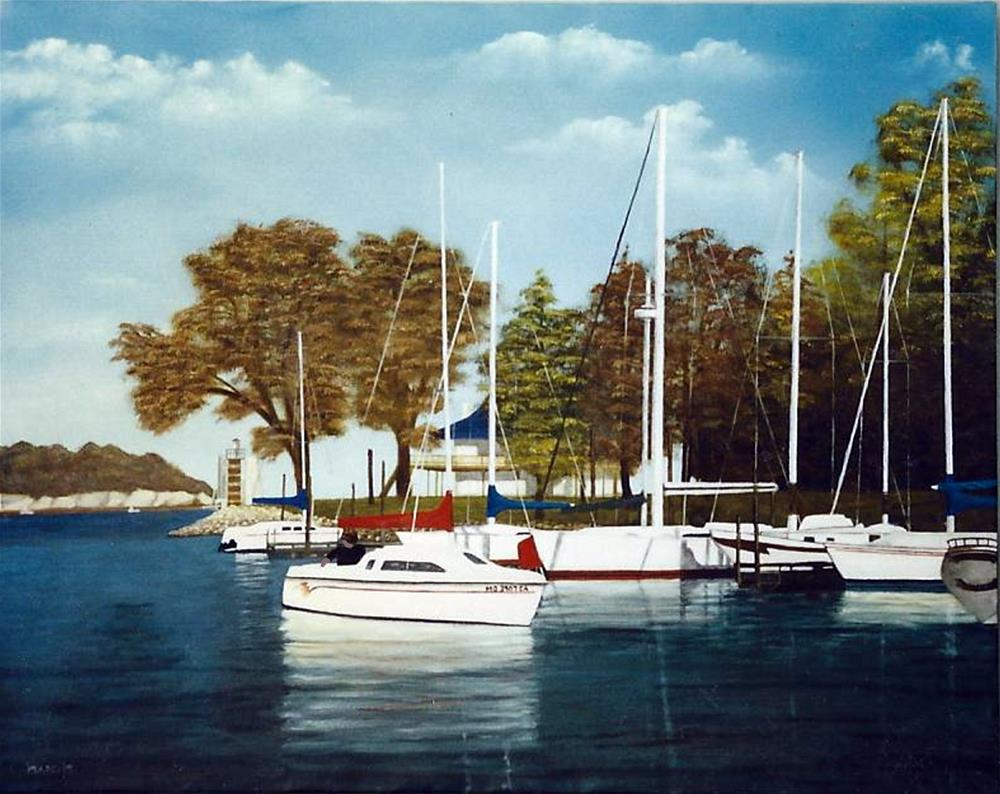 """Boats in a harbor"" original fine art by John Marcum"