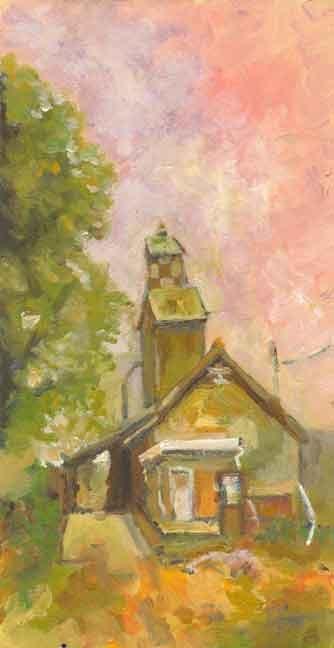 """Pink Building"" original fine art by Kara Butler English"