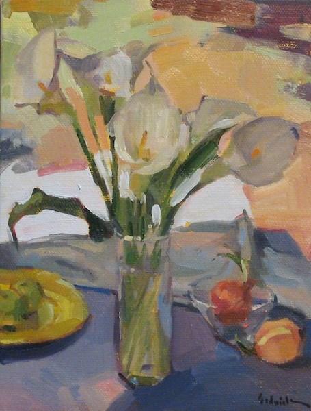 """Calla Lilies by the Open Door"" original fine art by Sarah Sedwick"