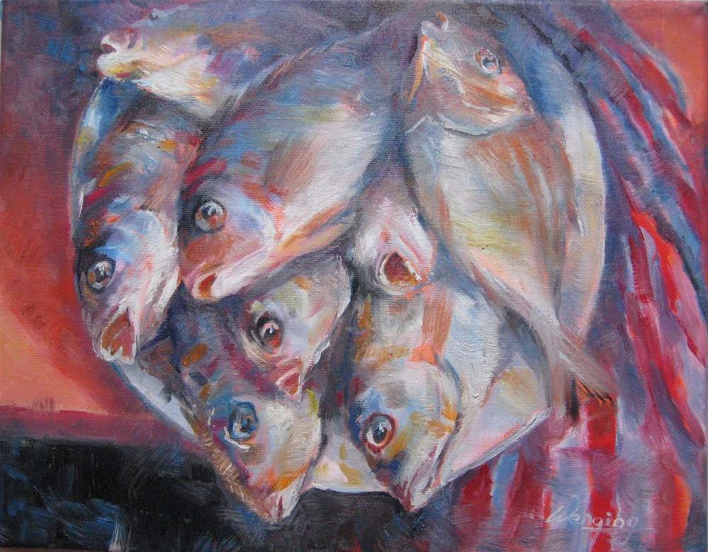 """""""fish fish"""" original fine art by Wenqing Xu"""