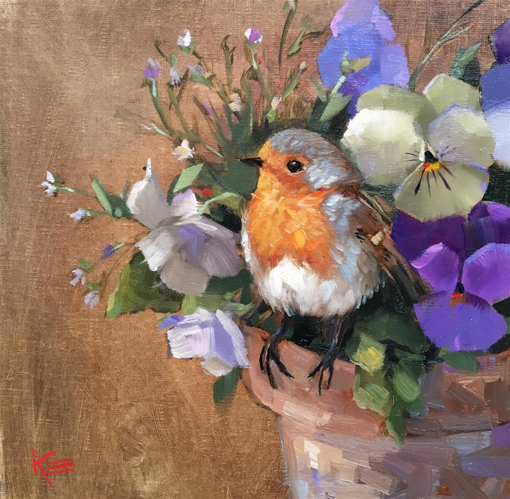"""Robin & Pansies"" original fine art by Krista Eaton"