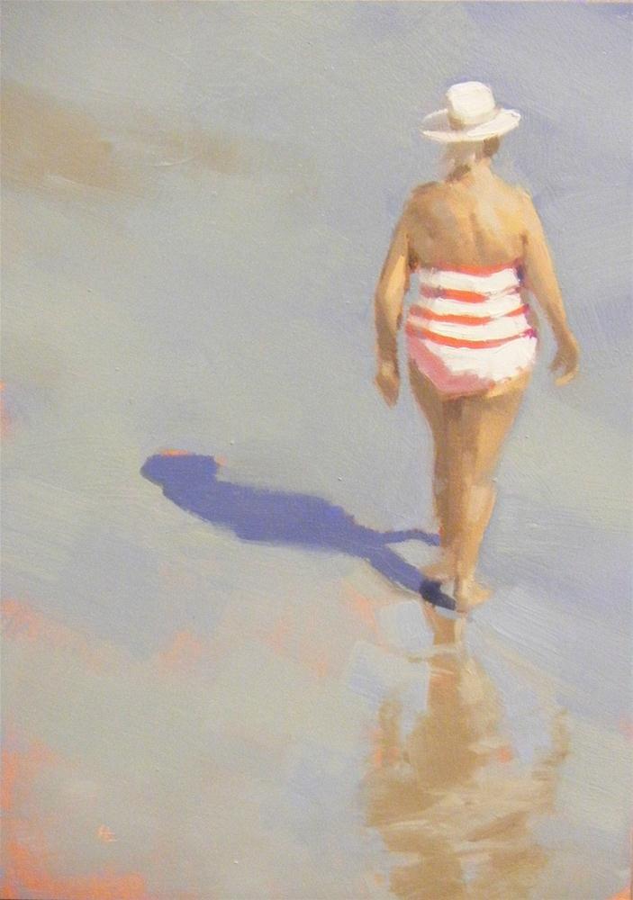 """À LA PLAGE - (AT THE BEACH)"" original fine art by Helen Cooper"
