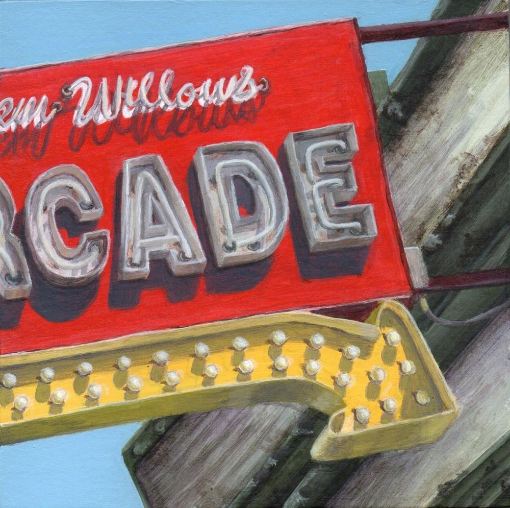 """To the Arcade"" original fine art by Debbie Shirley"