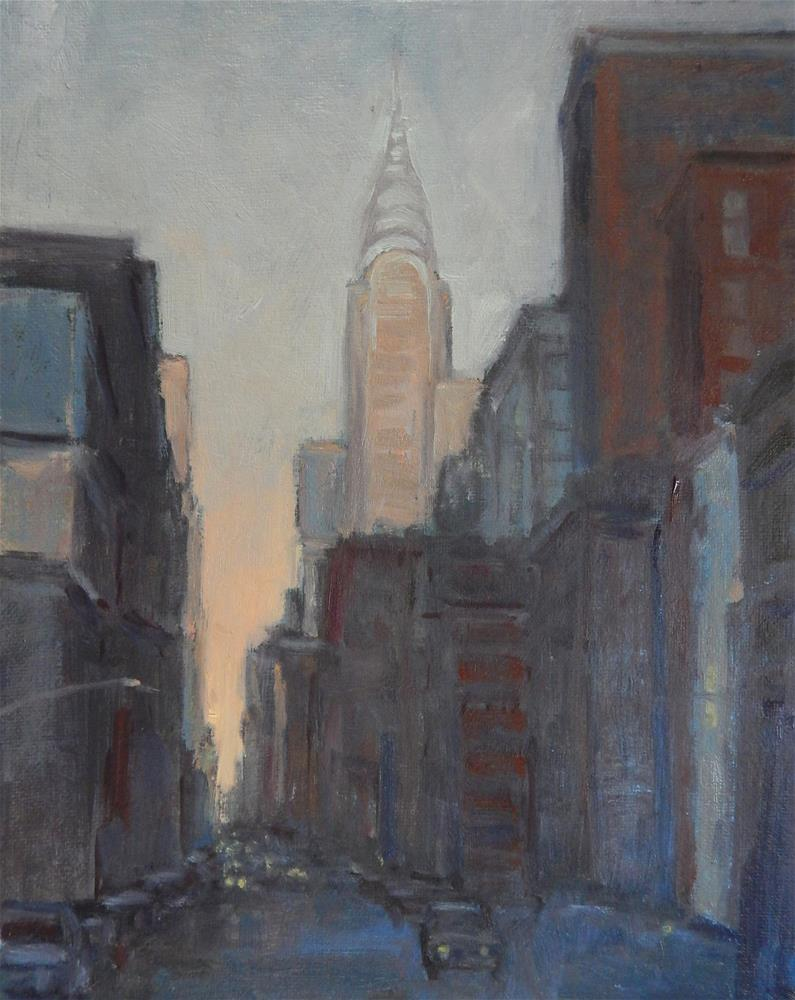 """""""New York, Gold and Blue"""" original fine art by Lisa Kyle"""