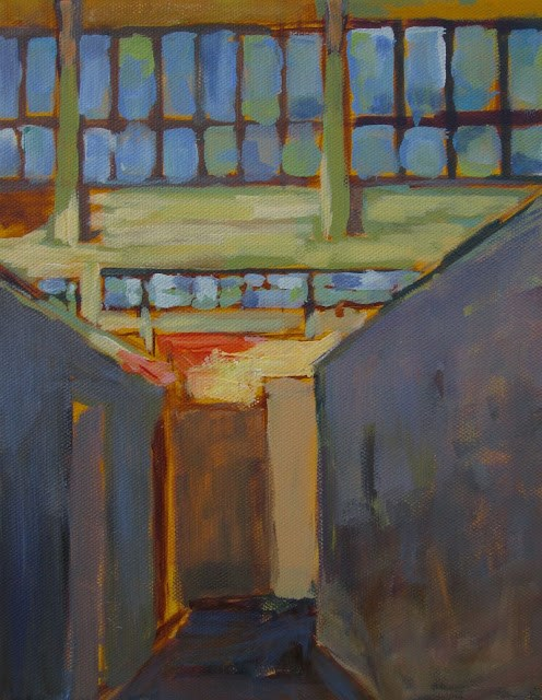 """""""Studio Lights -my studio lights can be seen at the end of hallway. I love OLD BUILDINGS!"""" original fine art by Mary Sheehan Winn"""