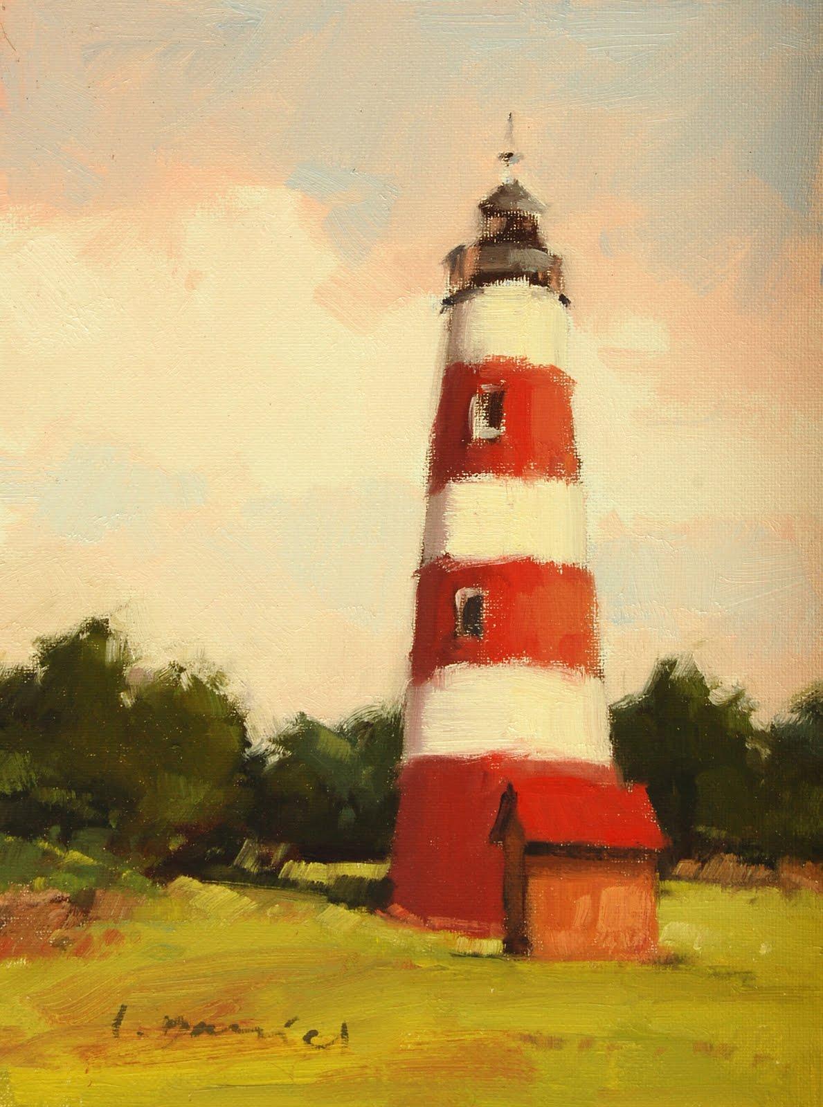 """Sapelo Lighthouse"" original fine art by Laurel Daniel"