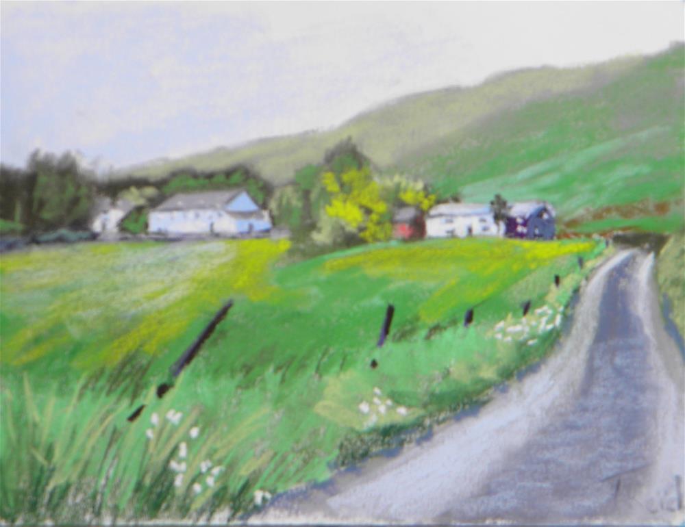 """""""Down the road a bit"""" original fine art by Toby Reid"""