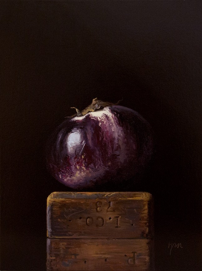 """Sicilian Eggplant on a Wood Block"" original fine art by Abbey Ryan"