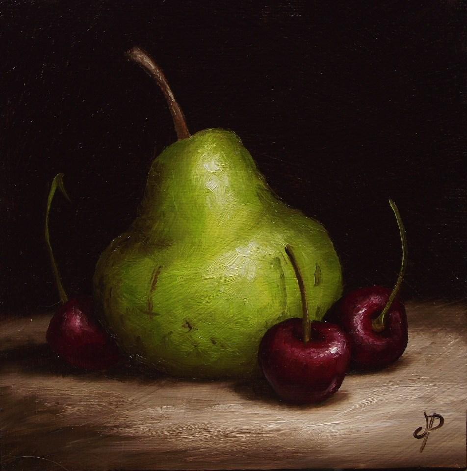 """Pear with Cherries"" original fine art by Jane Palmer"