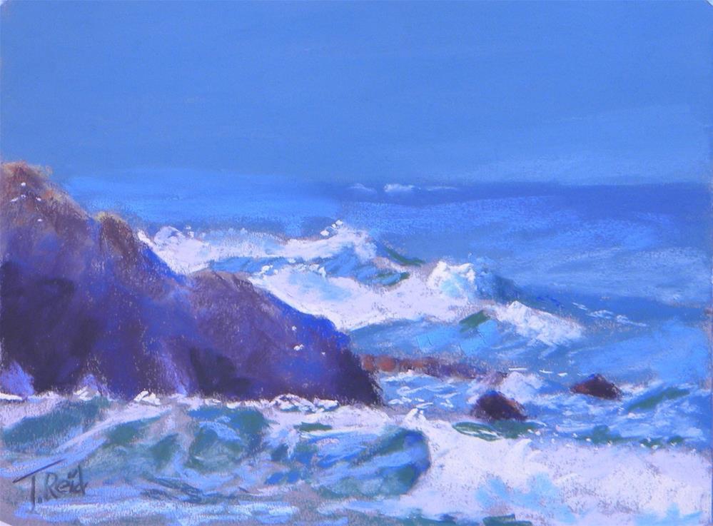 """""""Waves Behind the Rocks"""" original fine art by Toby Reid"""