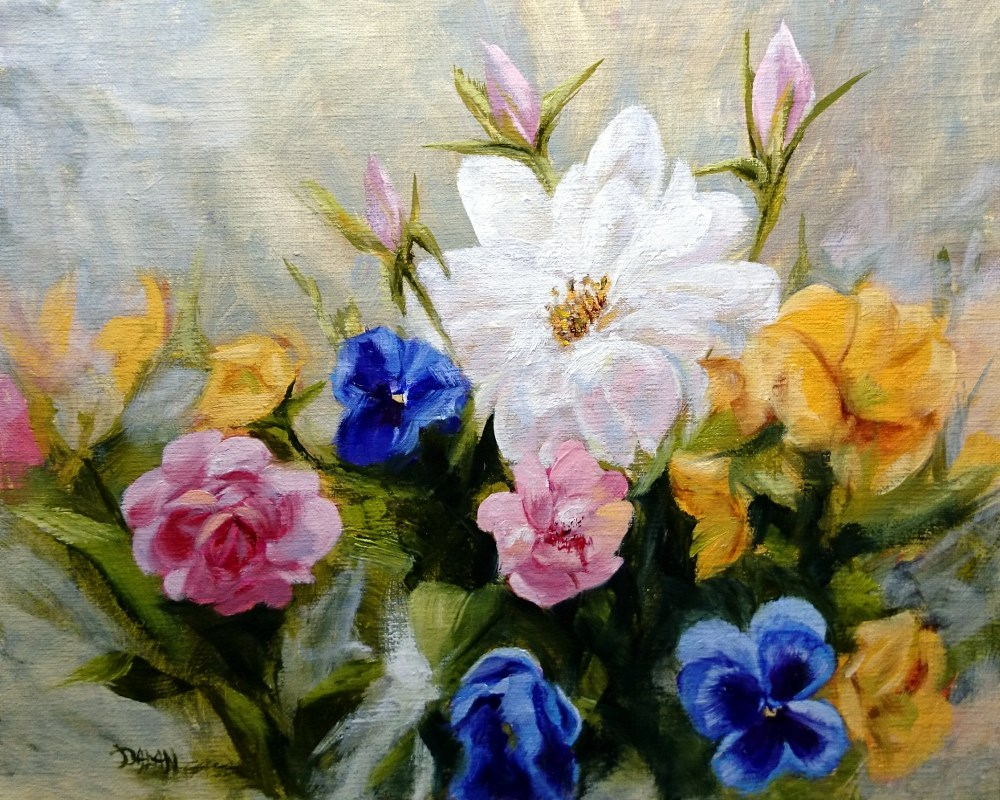 """Roses, Begonias, And Pansies"" original fine art by Dalan Wells"