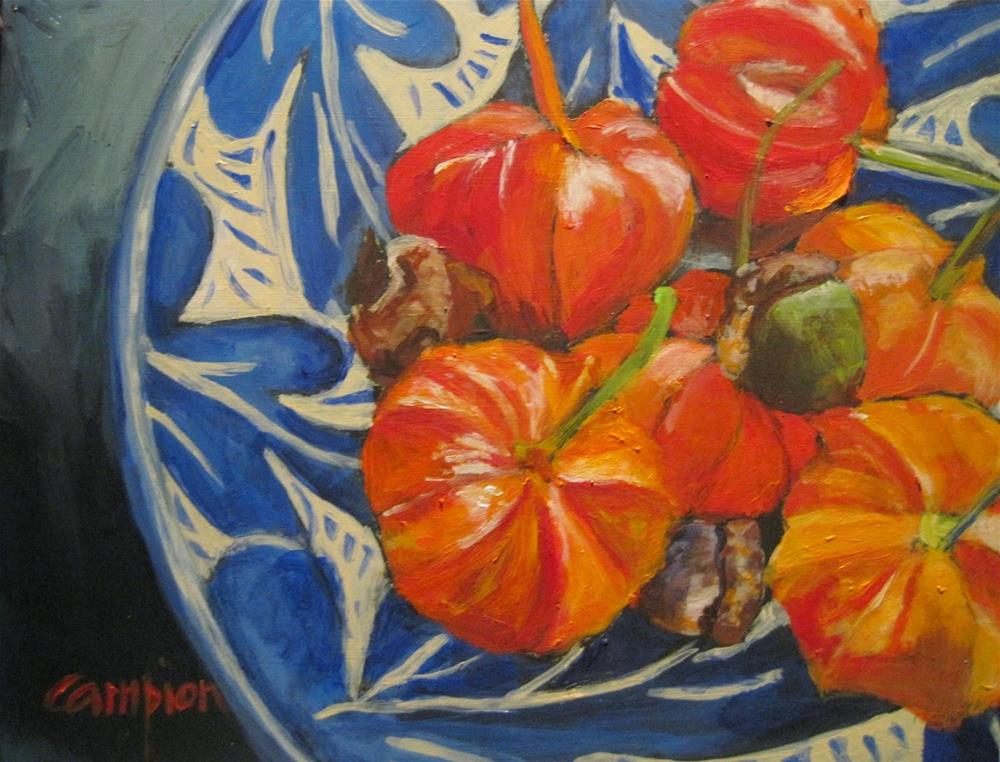 """""""462 Chinese Lanterns and Oak Leaves"""" original fine art by Diane Campion"""