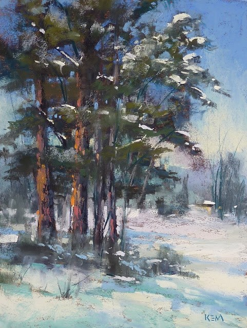 """Behind the Scenes of A Pine Tree Painting"" original fine art by Karen Margulis"