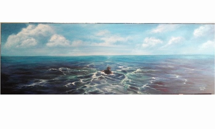 """Paddling out to Sea"" original fine art by Camille Morgan"