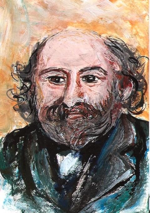 """ACEO Cezanne Portrait in the style of Renoir Miniature Painting Penny StewArt"" original fine art by Penny Lee StewArt"