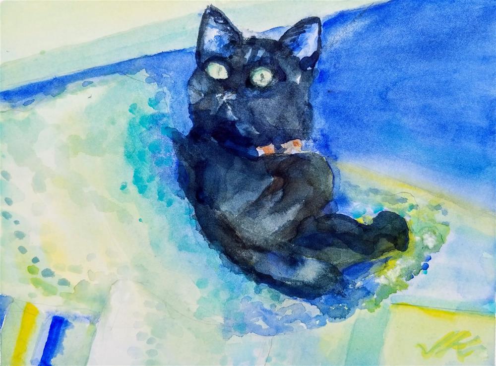 """Buck the Cat"" original fine art by Jean Krueger"