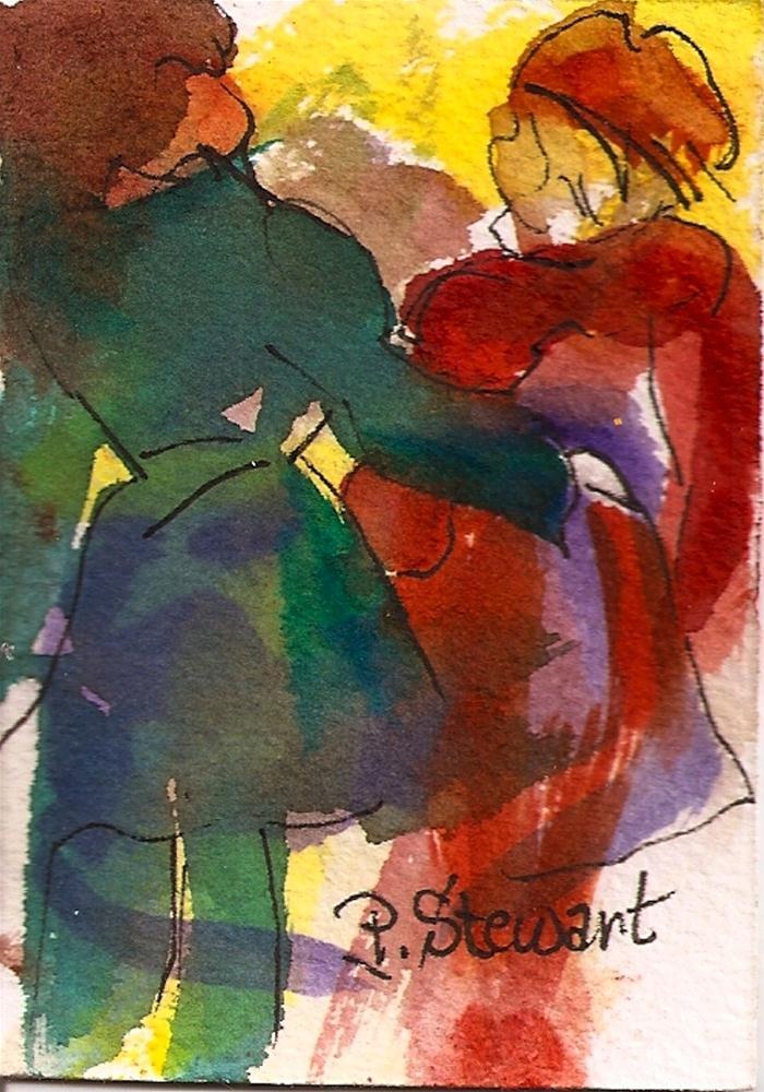"""ACEO Walking and Talking"" original fine art by Penny Lee StewArt"