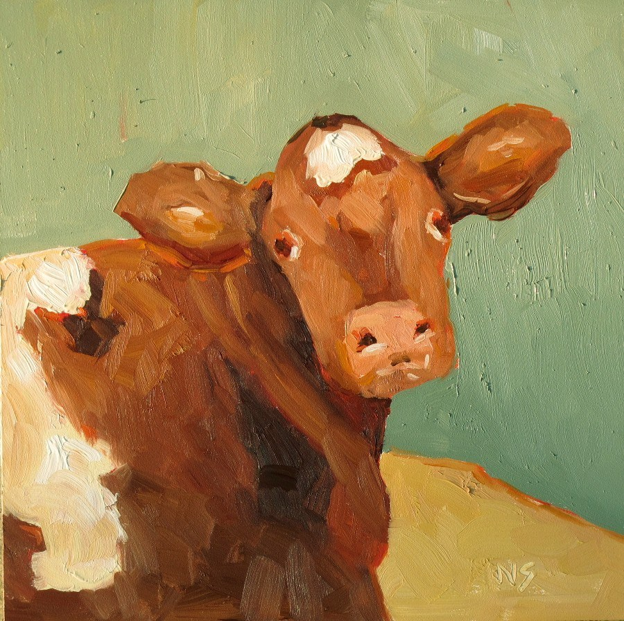 """Cow, Stock Show Ready 12120"" original fine art by Nancy Standlee"