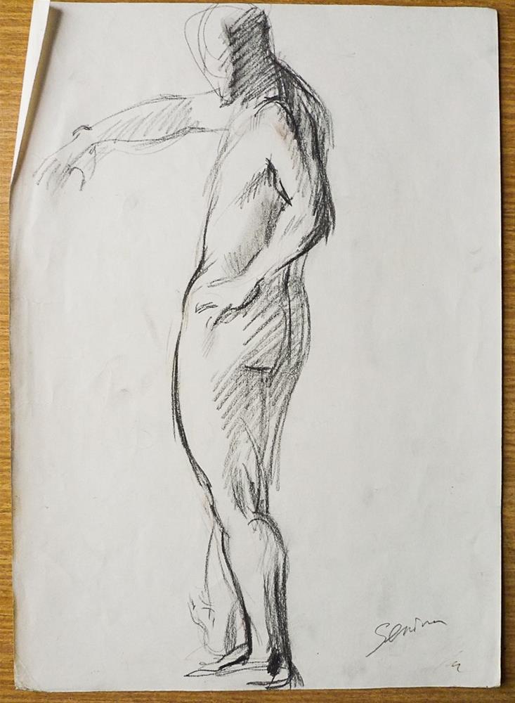 """Man standing#2"" original fine art by Elena Senina"