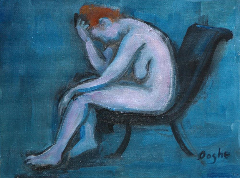 """""""Nude on Black Chair"""" original fine art by Angela Ooghe"""