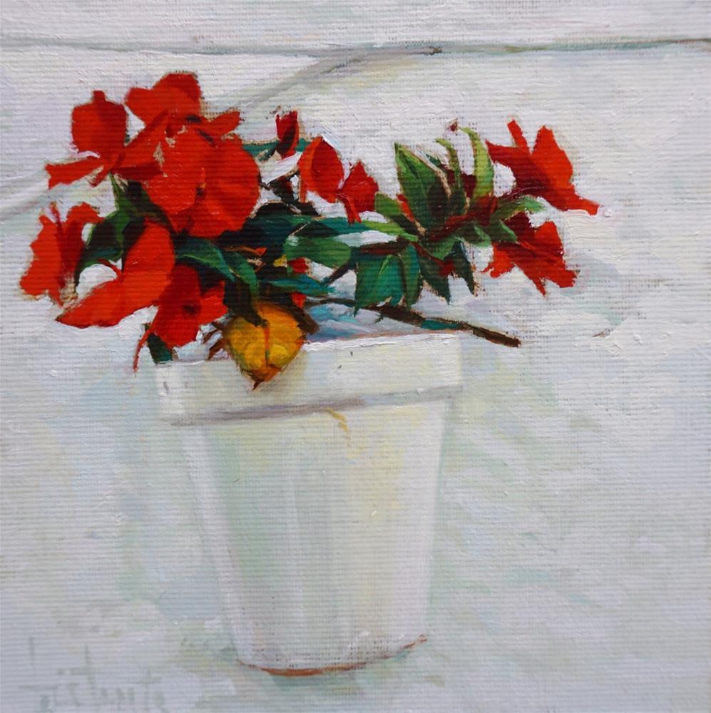 """White pot"" original fine art by Víctor Tristante"