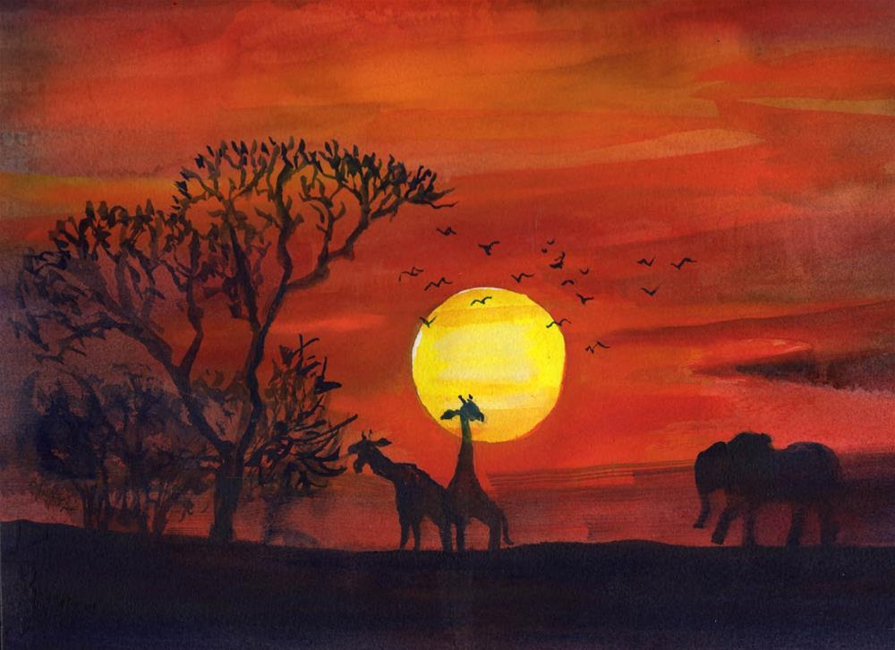 """African Sunset"" original fine art by Bunny Griffeth"