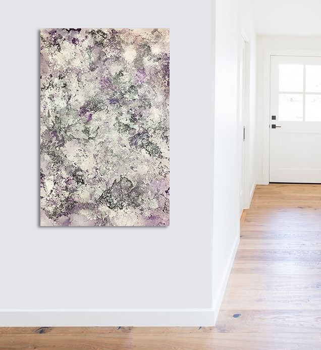"""Abstract Lavender & Silver"" original fine art by Sunny Avocado"