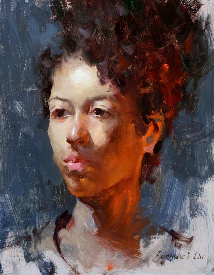 """""""Portrait for Fall 003 - Double Lights"""" original fine art by Fongwei Liu"""