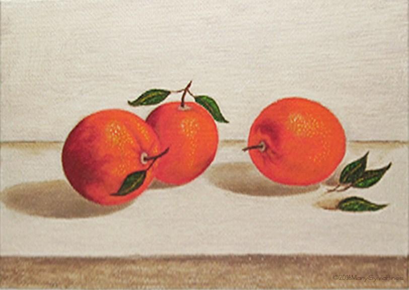 """Oranges 3"" original fine art by Mary Sylvia Hines"