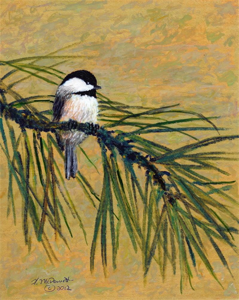 """Pine Branch Chickadee - Bird 1 (C) 2016 by K. McDermott"" original fine art by Kathleen McDermott"
