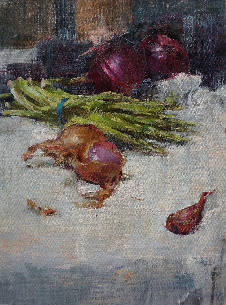 """asparagus and onions"" original fine art by Taisia Kuklina"