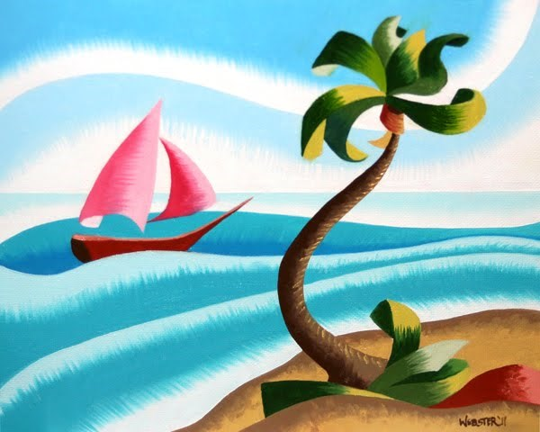 """Mark Webster - Abstract Rough Futurist Ocean Landscape with Sailboat Oil Painting"" original fine art by Mark Webster"