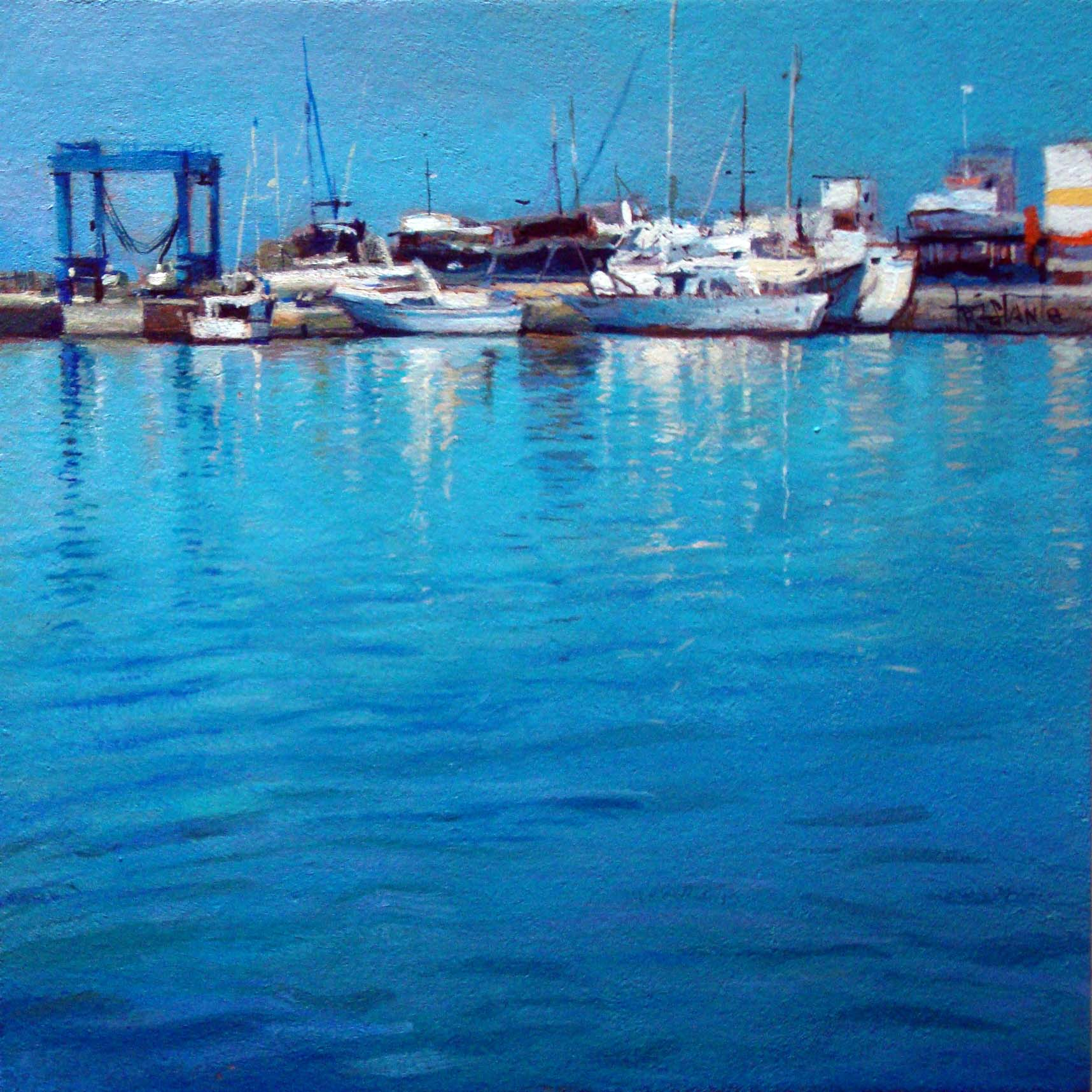 """Ships at the port"" original fine art by Víctor Tristante"