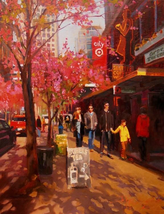 """""""Spring in Seattle Seattle, cityscape by Robin Weiss"""" original fine art by Robin Weiss"""