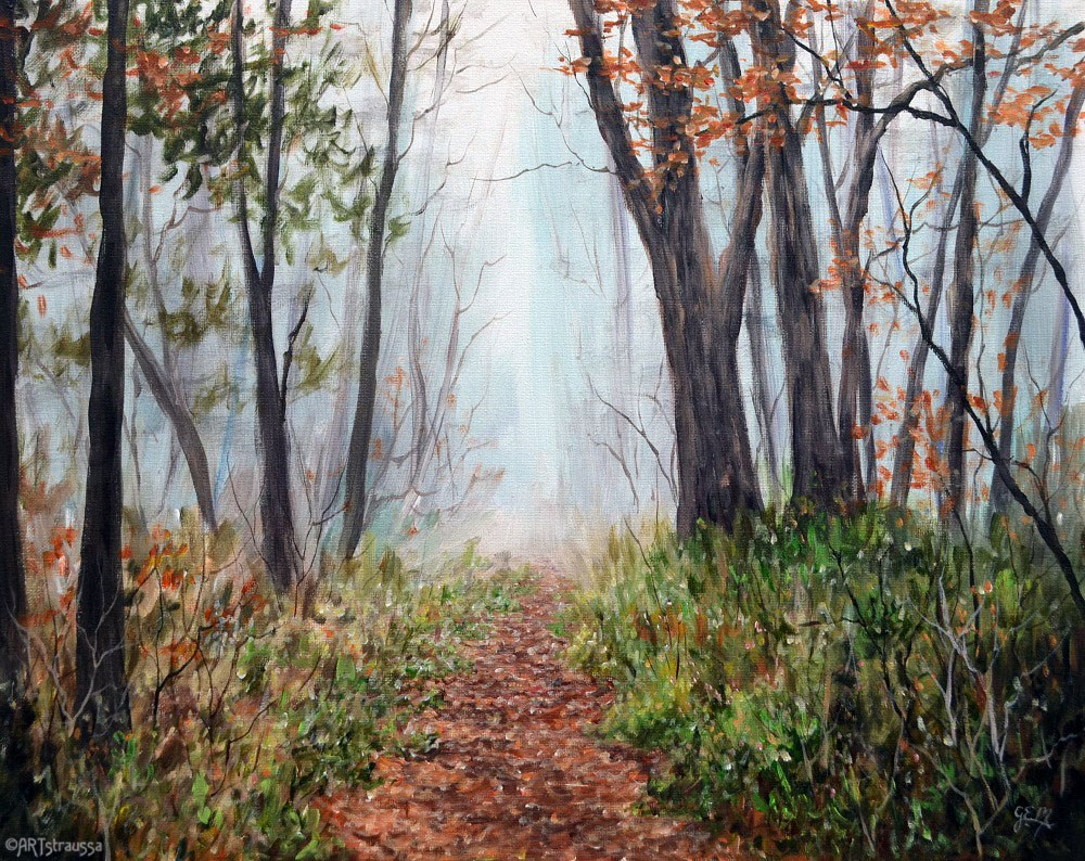 """Autumn Fog in Belmont Woods"" original fine art by Gloria Ester"