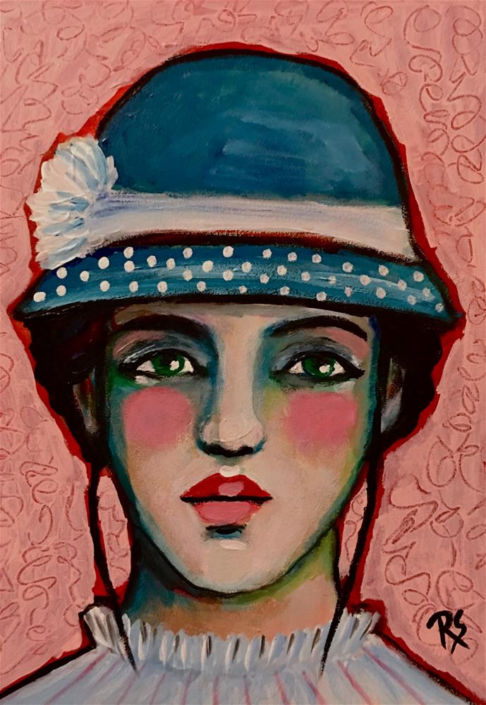 """Janie and Her Polka Dots"" original fine art by Roberta Schmidt ArtcyLucy"