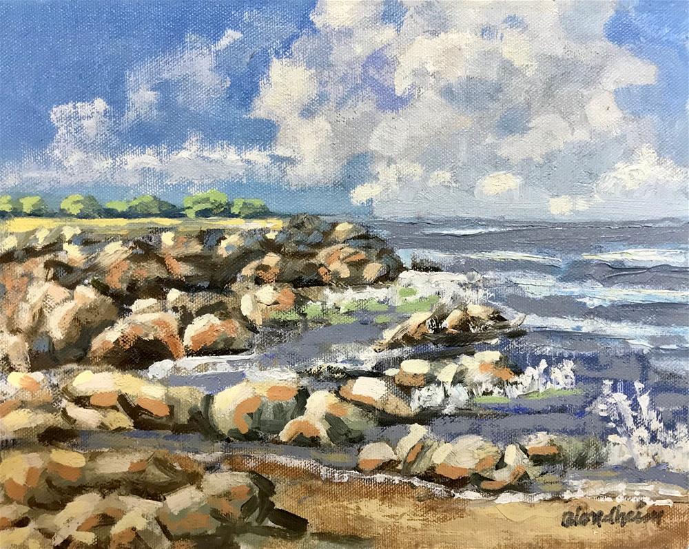 """Summer Sale Painting Beach Rocks"" original fine art by Linda Blondheim"