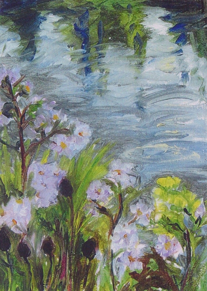 """Asters by the Rainy Pond"" original fine art by Lynne Schulte"